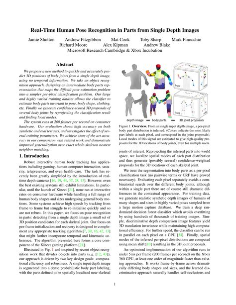 cvpr 2011 papers on the web computer vision resource real time human pose recognition in parts from single
