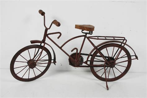 table top home decor vintage handmade large metal wood bicycle sculpture