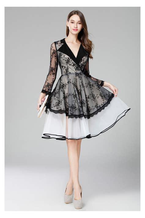 vintage black  white lace sheer long sleeve short dress