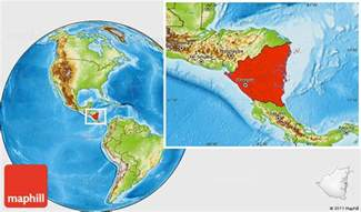 Nicaragua World Map by Physical Location Map Of Nicaragua