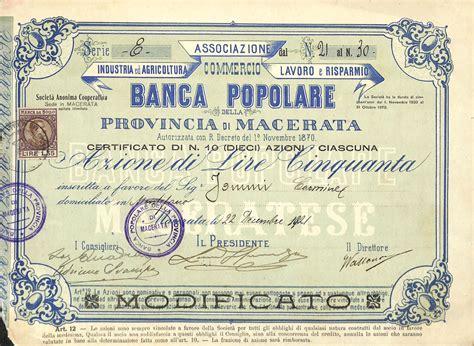 Banca Provincia Di Macerata by Banca Popolare Della Provincia Di Macerata Titolo