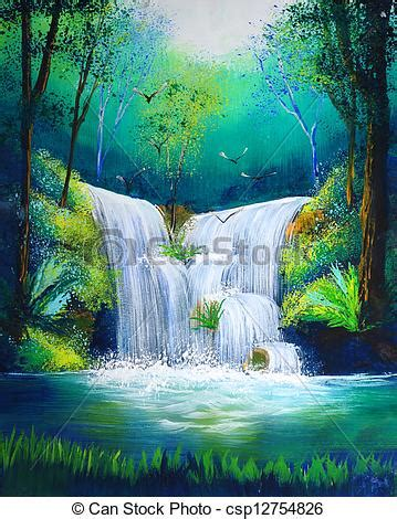 Watercolor painting of waterfall clip art search illustration drawings and eps vector