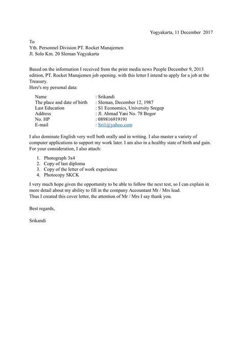 Contoh Surat Lamaran Kerja Dalam Bahasa Inggris Vacancy