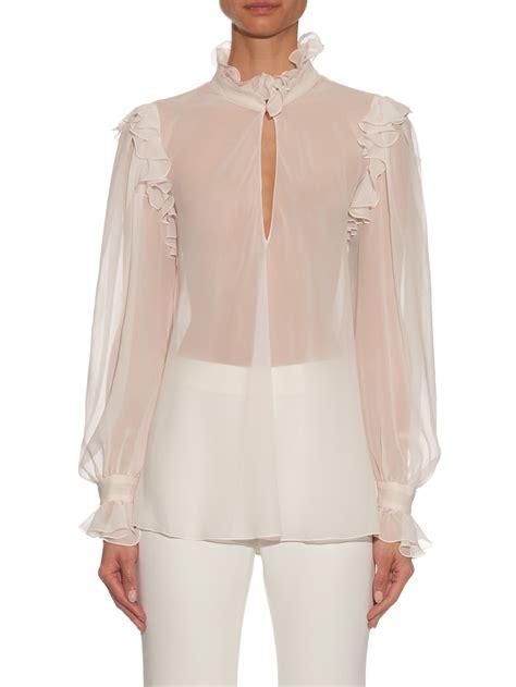 Id Pink Ruffle Silk Blouse giambattista valli ruffled high neck silk georgette blouse in white lyst
