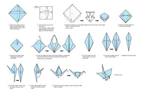 Fold Origami Bird - crane drawing mr