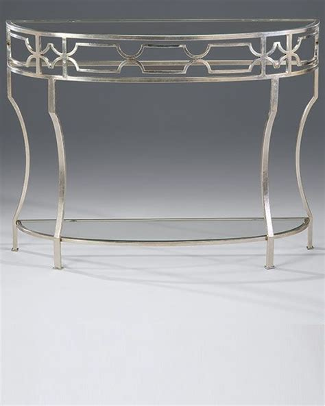 iron and glass sofa table console tables hand wrought iron demilune console table