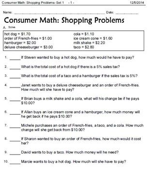Consumer Math Word Problems Worksheet by Consumer Mathematics Wages Worksheet Consumer Best