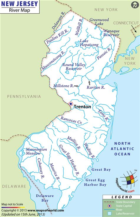 new jersey on the map of usa new jersey rivers map rivers in new jersey