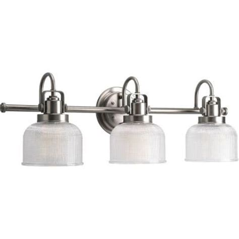 bathroom lighting fixtures home depot progress lighting archie 3 light antique nickel vanity