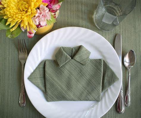 Origami Napkin Folding - fold a napkin shirt for s day how about orange