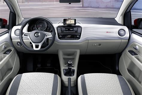 white volkswagen inside volkswagen up city car gets tech design upgrades