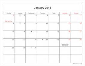 2018 Printable Calendar Uk January 2018 Calendar Printable With Bank Holidays Uk