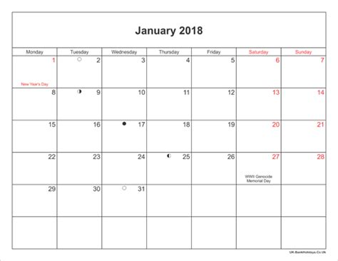printable calendar january 2018 uk january 2018 calendar printable with bank holidays uk