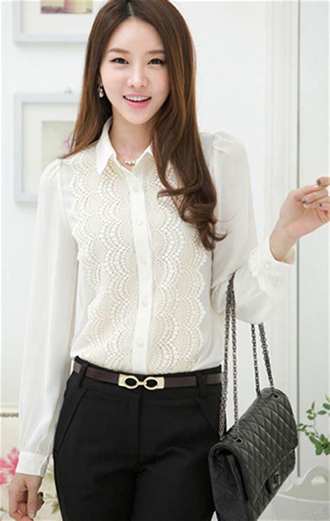 Blouse Wanita Stripe kemeja korea brokat lengan panjang putih http www eveshopashop kemeja wanita model renda