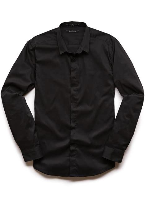 Black Slim Dress lyst forever 21 slim fit dress shirt in black for