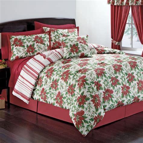christmas comforter reversible red green white christmas poinsettia stripe