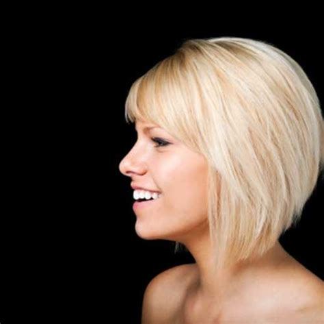 shorter hairstyles with side bangs and an angle short bob with side swept bangs the best short