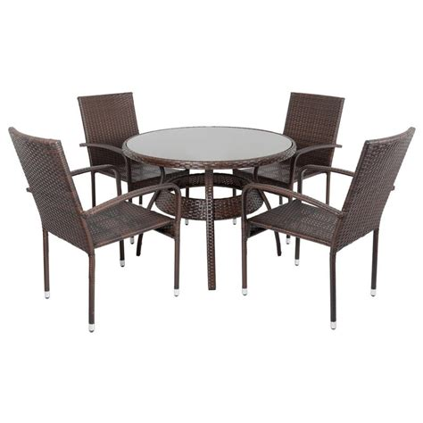 Brown ravenna rattan wicker garden dining table set with 4 chairs