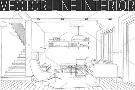 Drawing Living Room - line drawing of the living room illustrations