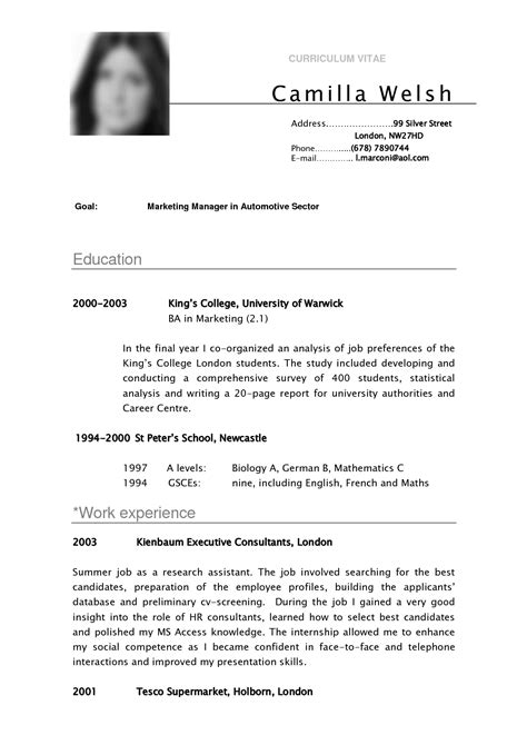 curriculum vitae template for students cv sle curriculum vitae camilla for school