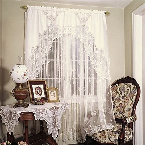 lace curtains bed bath and beyond heritage lace 174 heirloom 45 inch window curtain tier bed