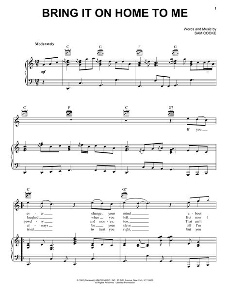 sam cooke bring it on home to me sheet