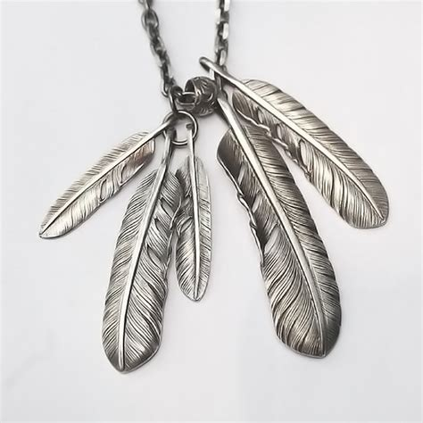 Feather L by Silver Feather Pendant American Inspired Silver