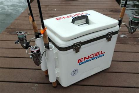 cool fishing boat hacks engel 30 qt cooler dry box with rod holders white