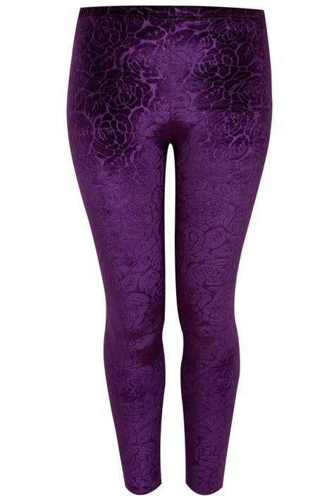 floral embossed patterned velvet leggings purple floral embossed velour leggings