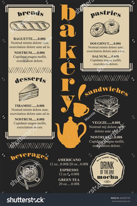 bakery coffee menu placemat food restaurant stock vector