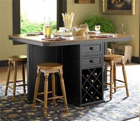 imposing bar height kitchen table island with black paint