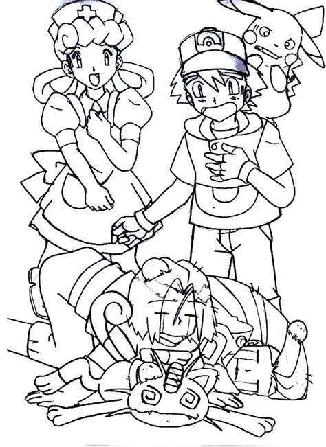 ash pokemon beat team rocket colouring page happy colouring