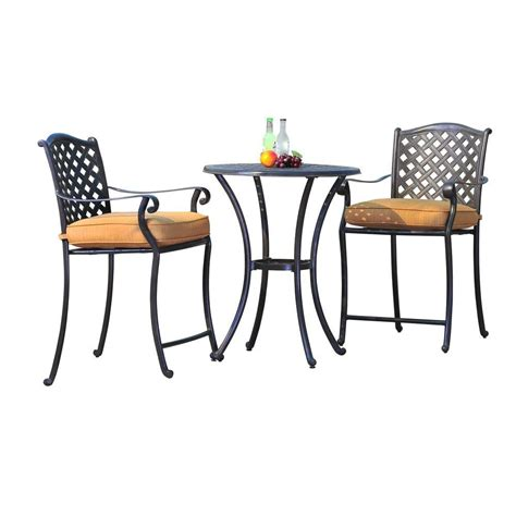 Outdoor Bistro Table Set Bar Height Castlecreek 3 Patio Bistro Dining Set Bar 100 Bar Height Outdoor Dining Table Hanover