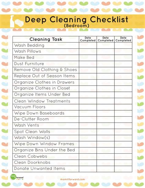 cleaning bedroom checklist search results for deep cleaning checklist printable