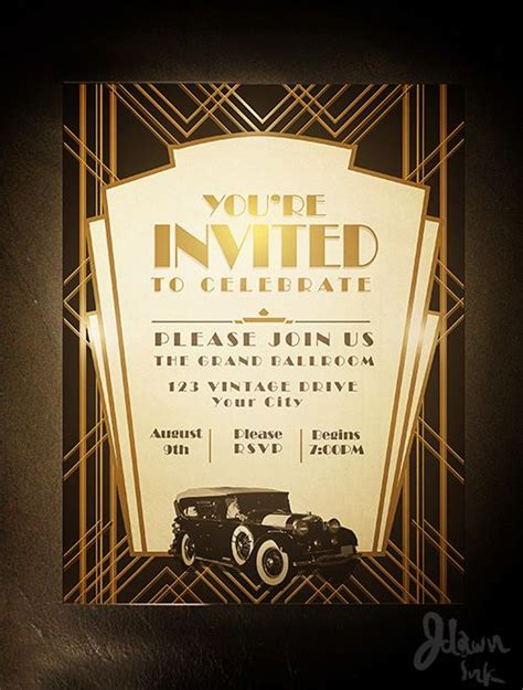 art deco gatsby party invitation design template available