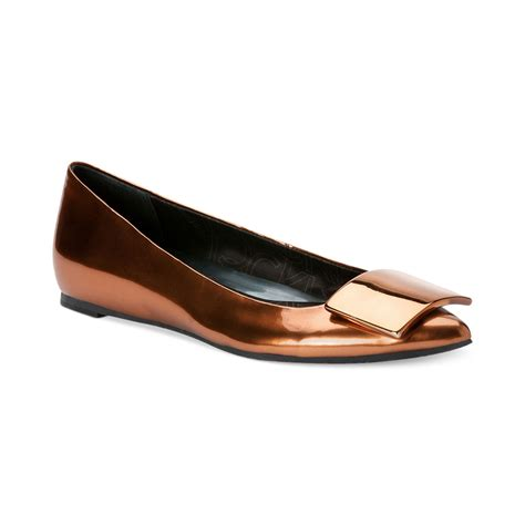 calvin klein shoes flats calvin klein womens baylin flats in gold copper metallic