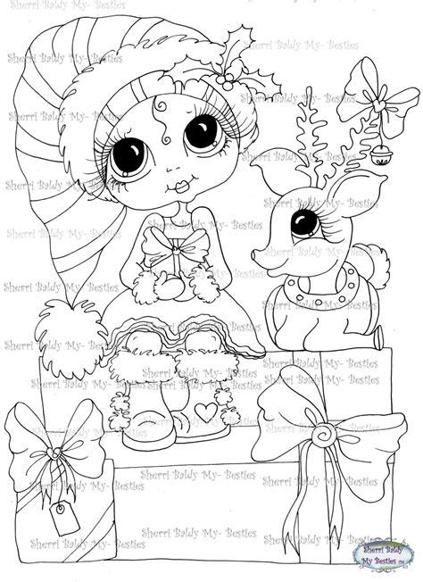 sherri baldy my besties magical winter coloring book books instant digi sts big eye big dolls digi