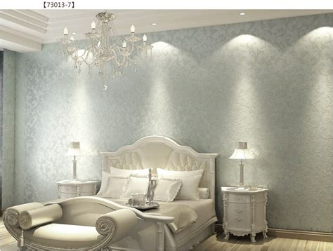 Metallic Bedroom Wallpaper by Walpaper Vintage European Silver Non Woven Bedroom