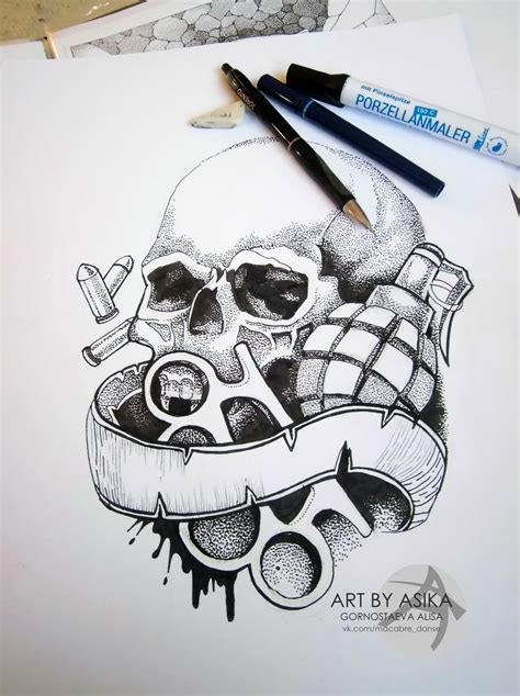 skull dotwork by asikaart on deviantart