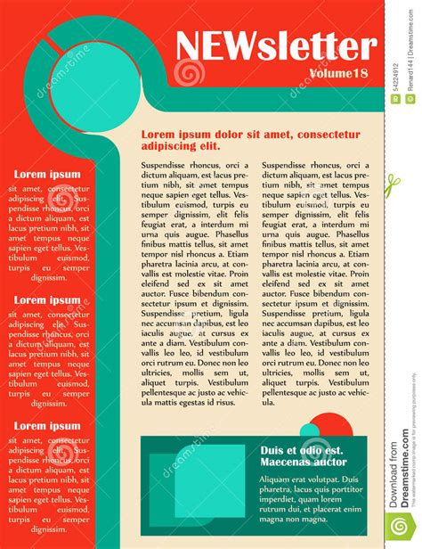 newsletter website template design stock vector