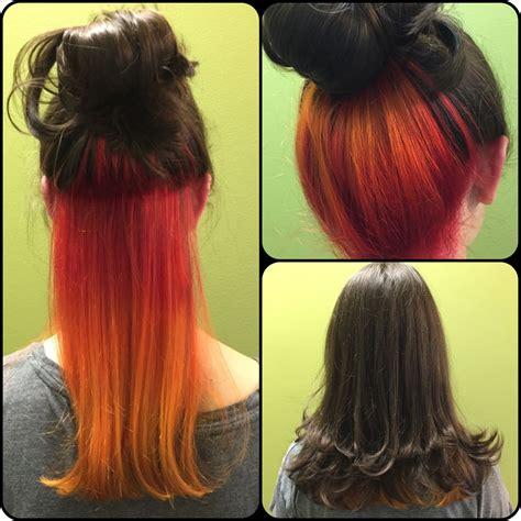 peekaboo color inspired hair peek a boo to orange to yellow