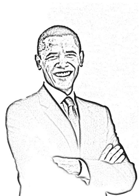 coloring page president obama famous people coloring