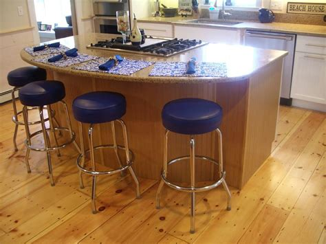 kitchen island wide pine floors blue stools countertop