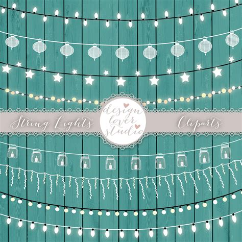 Clipart Wedding Embellishments by Vector Lights Clipart Teal String Lights Clipart Wedding