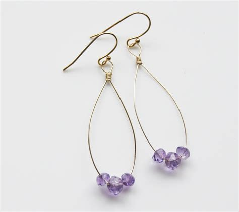 Handmade Earring Ideas - diy amethyst drop earring