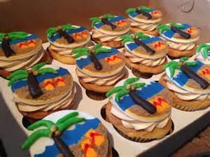 Hawaiian beach themed cupcake toppers