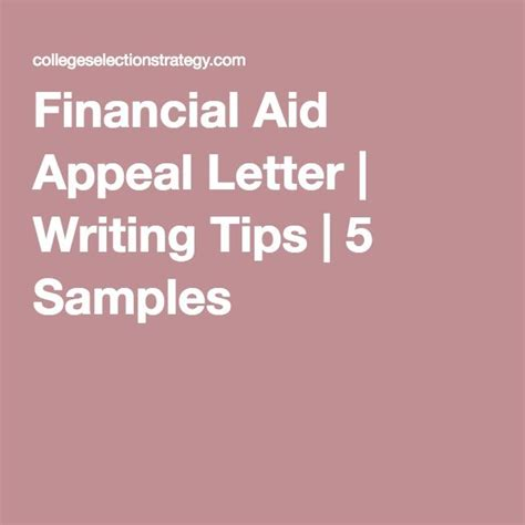 Writing A Financial Aid Appeal Letter For College financial aid appeal letter writing tips 5 sles