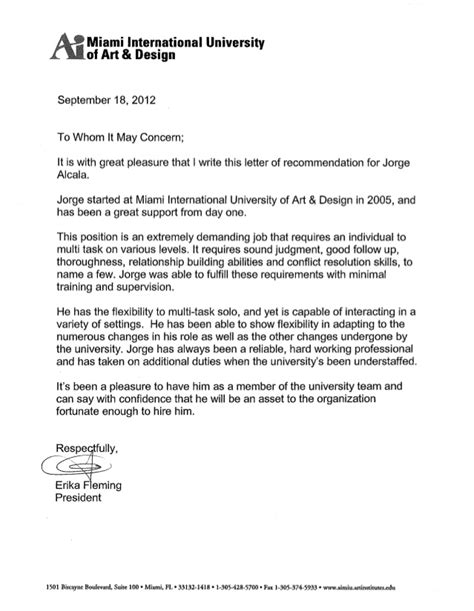 Umiami Mba Letter Of Recommendatino by Letters Of Recommendation