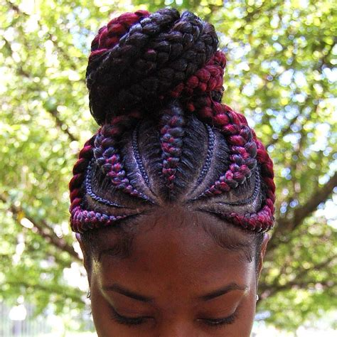 ghana braids hairstyles burgundy and black ghana braid ponytail hair by ashley m