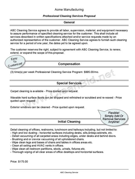 commercial cleaning bid proposal template